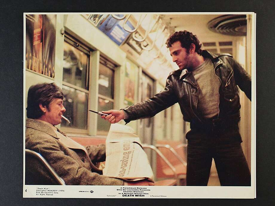"""Charles Bronson, left, with unidentified actor in """"Death Wish"""" (1974) Photo: Paramount"""