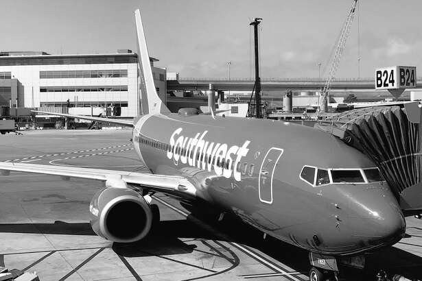 Southwest Airlines 737 at SFO in black and white