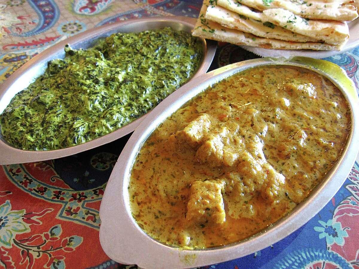 Saag paneer, garlic naan and lamb rogan josh from Simi's India Cuisine.