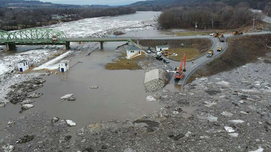 State Police drones captured the ice jams, floes and flooding on the Mohawk River in Rotterdam at Lock 9 on Feb. 21, 2018. (State Police) Photo: State Police