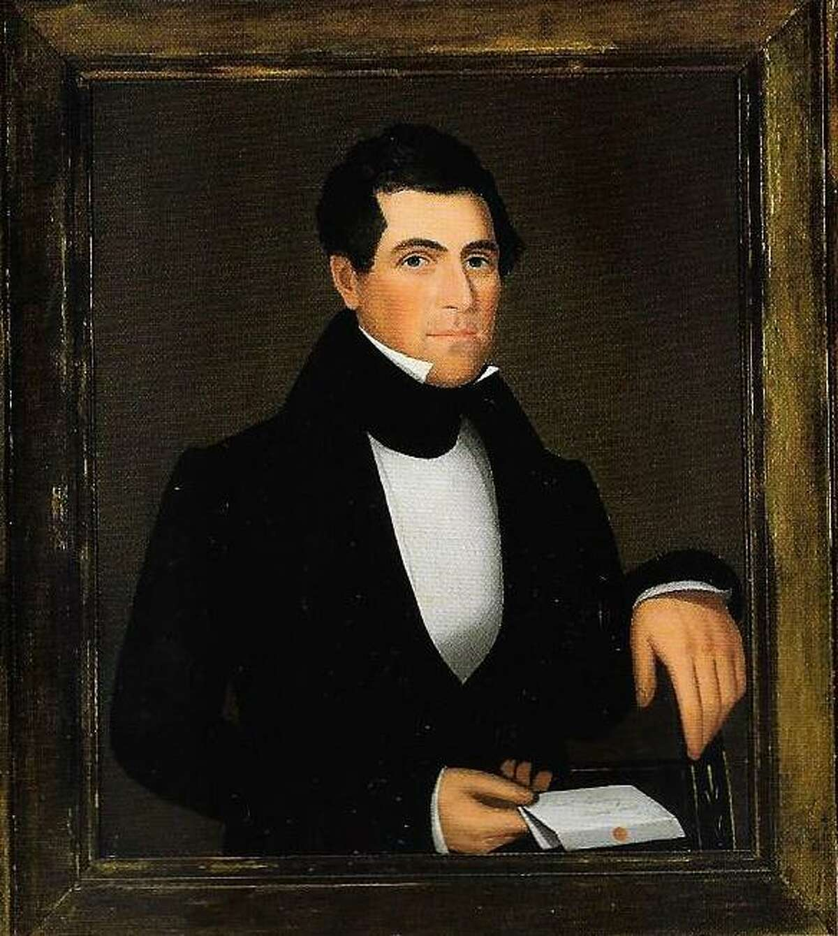 A portrait of Preston Wing, painted by Ammi Phillips.