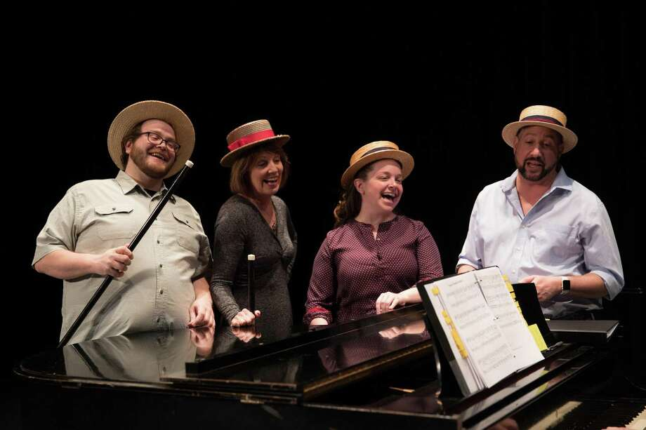 """The Warner Stage Company cast of """"The Irish and How They Got That Way,"""" rehearses on the main stage at the theater in Torrington. From left are Josh Newey, Susan Kulp, Lyn Nagel and Bret Bisaillon. Photo: Photo By Mandi Martini"""