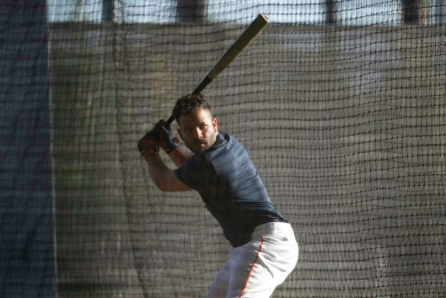 Houston Astros second baseman Jose Altuve (27) puts in some time in the batting cages early in the morning beore the start of spring training workouts at The Fitteam Ballpark of the Palm Beaches, Thursday, Feb. 22, 2018, in West Palm Beach. Photo: Karen Warren, Houston Chronicle / © 2018 Houston Chronicle
