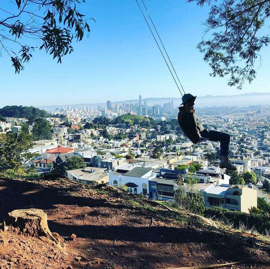 Swings have cropped up all over the city courtesy of #Swingbombsf. Photo: Instagram @swingbombsf