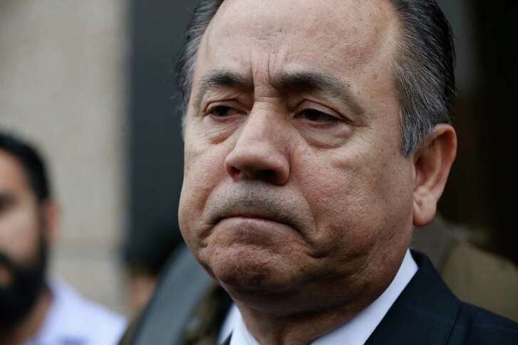 Texas State Sen. Carlos Uresti speaks with the media outside the U.S. Federal Courthouse after his conviction on all 11 counts in his criminal fraud trial, Thursday, Feb. 22, 2018. Uresti and his co-defendant, Gary Cain, were convicted in relations to the failed FourWinds Logistics fracking company.