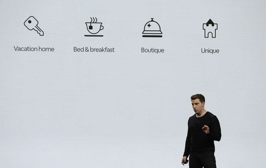 Airbnb CEO Brian Chesky discusses the four new property categories the short-term rental company is adding to its list, with thousands more to follow. Photo: Lea Suzuki, The Chronicle