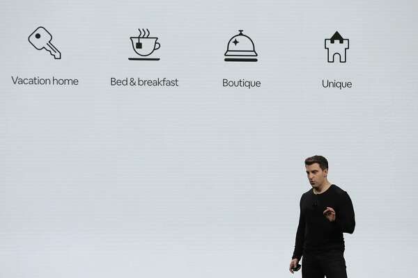 Airbnb co-founder and CEO Brian Chesky speaks about four new property types  during the keynote at the Masonic 'theater in San Francisco, Calif., on Thursday, February 22, 2018. They new catergory types are vacation home, unique, B&B, and Boutiques.