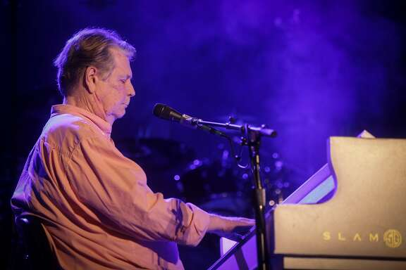 Brian Wilson, the Beach Boys' chief songwriter, plays piano and sings during a concert held at the Paramount Theater with famous guitar player Jeff Beck and three other original Beach Boys band members in Oakland on October 22nd 2013.