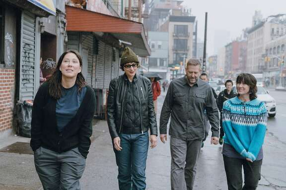 From left: Kim Deal, Josephine Wiggs, Jim Macpherson and Kelley Deal of the Breeders, in New York, Jan. 5, 2018. Twenty-five years after �Last Splash� turned them into alt-rock heroes, the Deal twins have recorded a new album with the band�s 1993 lineup. (Ben Rayner/The New York Times)