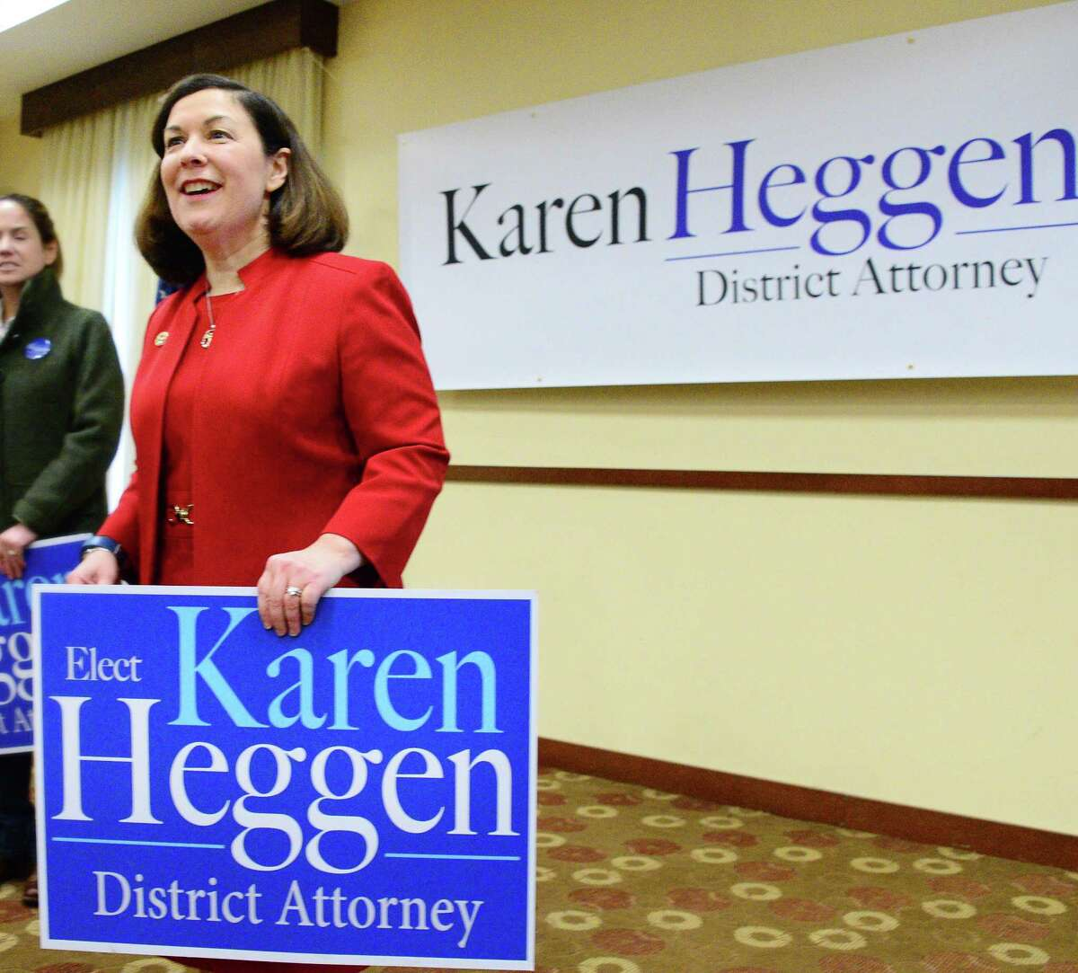 Saratoga County District Attorney Karen Heggen during a news conference to announce her re-election bid Thursday Feb. 22, 2018 in Malta, NY. (John Carl D'Annibale/Times Union)