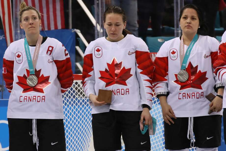 Jocelyne Larocque #3 of Canada refuses to wear her silver medal after losing to the United States in the Women's Gold Medal Game on day thirteen of the PyeongChang 2018 Winter Olympic Games at Gangneung Hockey Centre on February 22, 2018 in Gangneung, South Korea. Photo: Bruce Bennett/Getty Images
