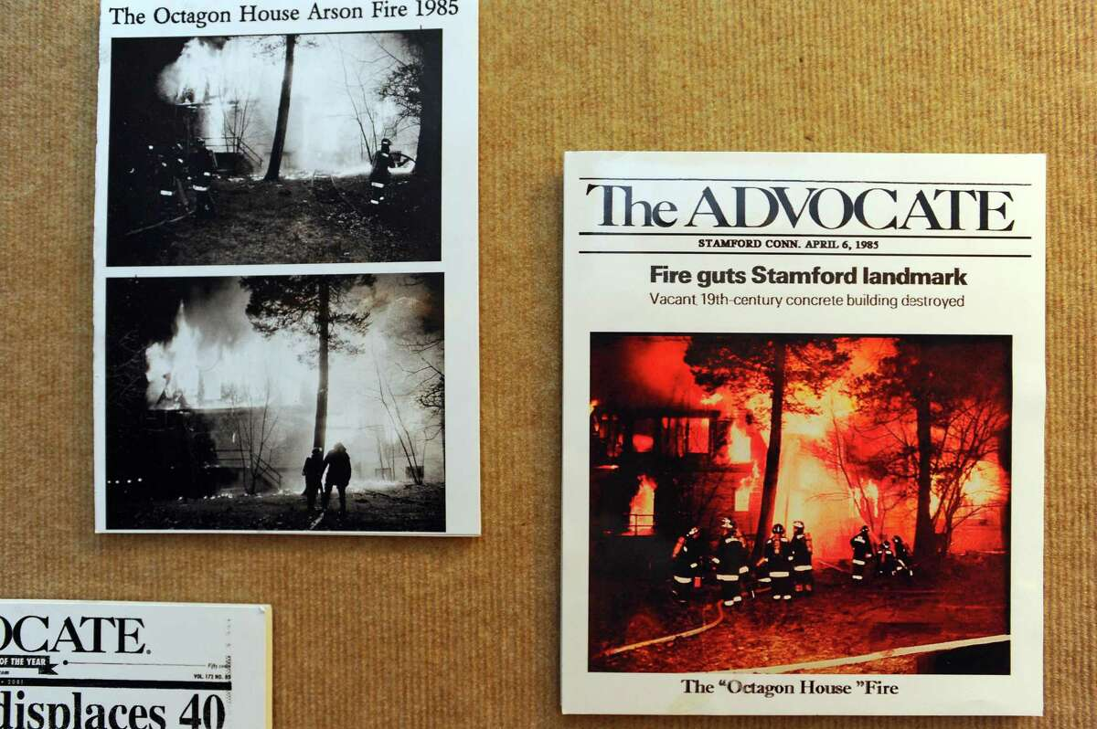 The Stamford Historical Society has preserved old photographs from the Stamford Advocate in 1985 showing the fire that destroyed the octagon house on Strawberry Hill Avenue. Below, old Advocate news clippings after the fire.