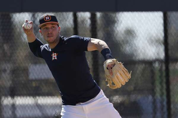 Houston Astros third baseman Alex Bregman throws the ball as he ran some drills with other early arriving position players during spring training at The Ballpark of the Palm Beaches, Friday, Feb. 16, 2018, in West Palm Beach .   ( Karen Warren / Houston Chronicle )