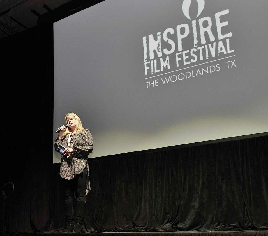 Inspire Film Festival Founder and Director Jane Minarovic welcoming everyone to the VIP Party at The Insperity Theater Township Events Center during the 2018 Inspire Film Festival on Feb. 15. Photo: Photo Courtesy Of Inspire Film Festival / All rights reserved