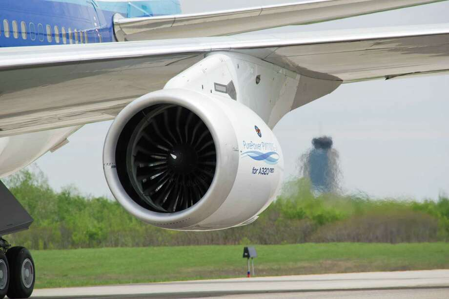 An Airbus jet with the PurePower PW1000G engine manufactured by Pratt & Whitney, a subsidiary of United Technologies. On Feb. 22, 2018, shares of UTC rose 3 percent after the company's CEO indicated a willingness to explore breaking into three companies, with its divisions including Otis and UTC Aerospace Systems. (Photo via Businesswire) Photo: Spencer Sloan /