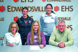 Edwardsville senior Jenna Stobie will play soccer at Lindenwood University-Belleville. In the front row, from left to right, are mother Jill Stobie, Jenna Stobie and father Jay Stobie. In the back row, from left to right, are EHS coach Abby Federmann and LU-Belleville coach Erika Baptist.