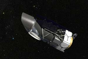 An artistÕs rendering provided by NASA of the Wide-Field Infrared Survey Telescope, or Wfirst, planned for launch sometime in the 2020s to give scientists a deeper look at dark energy. Congress will decide whether to continue financing the project that the Trump administration has proposed nixing. (Goddard Space Flight Center/Conceptual Image Lab/NASA via The New York Times) -- FOR EDITORIAL USE ONLY.
