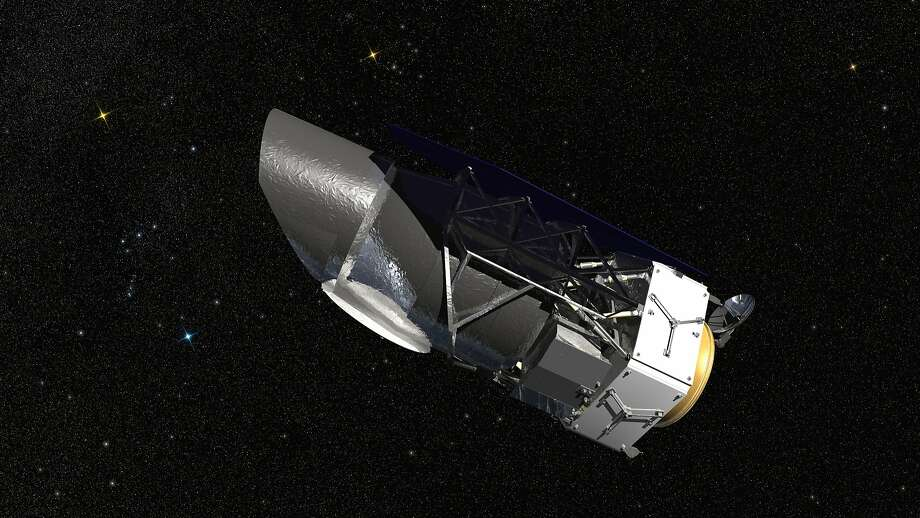 A rendering provided by NASA of the Wide-Field Infrared Survey Telescope, or Wfirst, telescope. It could be a casualty of the budget cuts proposed for NASA. Photo: HARRIS CORPORATION/TJT PHOTOGRAPHY, NYT
