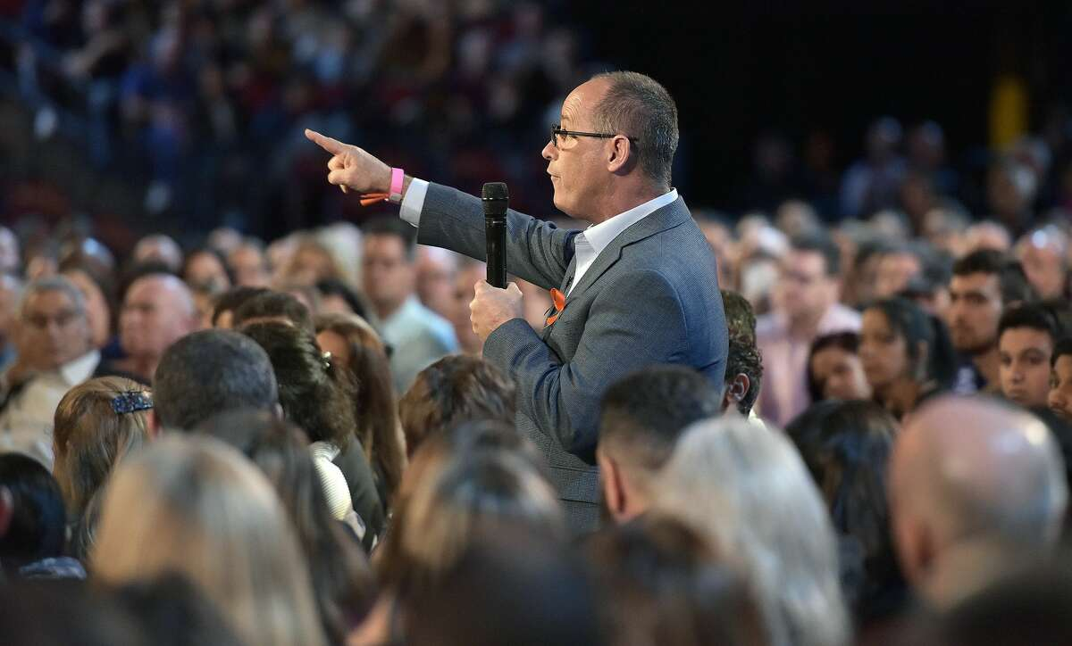 """Fred Guttenberg asks Republican Sen. Marco Rubio a question during a CNN """"Stand Up"""" town hall meeting, Wednesday, Feb. 21, 2018, in Sunrise, Fla. Guttenberg lost his daughter Jaime, 14, in the Marjory Douglas Stoneman High School shooting on Feb. 14 that left more than a dozen people dead. (Michael Laughlin/South Florida Sun-Sentinel via AP)"""