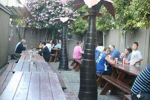 Not as impressed outside Oasis Beer Garden in Menlo Park.