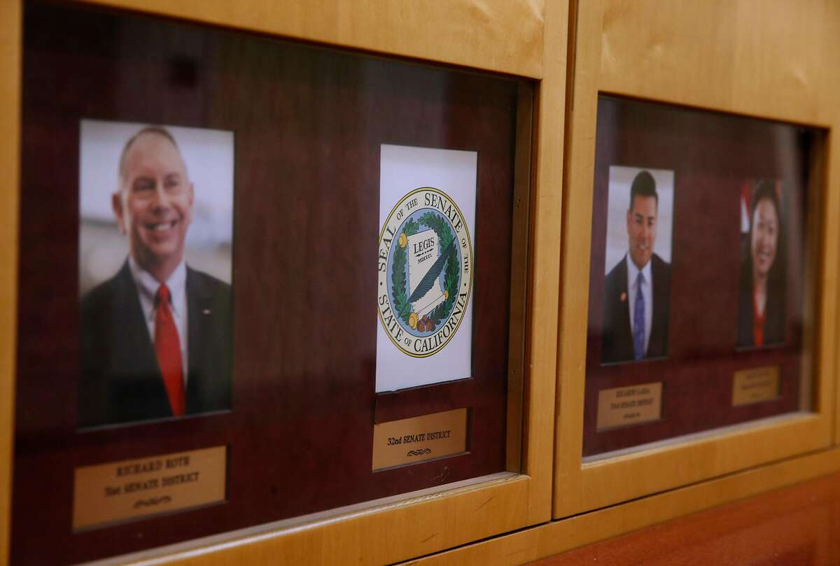 A photograph Tony Mendoza has been removed after the state senator from Southern California tendered his resignation at the State Capitol in Sacramento, Calif. on Thursday, Feb. 22, 2018 following allegations of sexual misconduct.