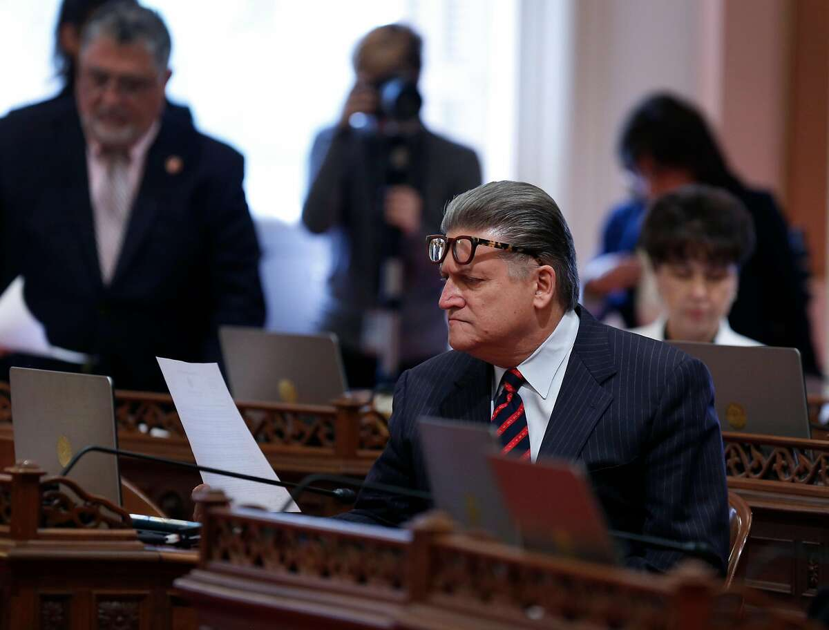 State Sen. Robert Hertzberg reads a copy of state Sen. Tony Mendoza�s letter of resignation at the State Capitol in Sacramento, Calif. on Thursday, Feb. 22, 2018 following allegations of sexual misconduct.