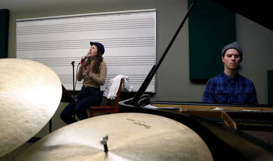 Jazz singer Susana Pineda rehearses at the conservatory with the New Quartet: Morgan Maudiere on piano; Zach Mondlick, drums; and Shim Pei Ogawa, bass. Photo: Michael Macor, The Chronicle