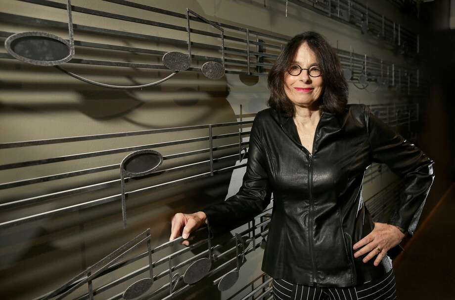 "California Jazz Conservatory founder Susan Muscarella inside Rendon Hall, in Berkeley. Muscarella stands in front of the notes to, ""Round Midnight"" a song by Thelonious Monk, by artist T.J. Marrone. Photo: Michael Macor, The Chronicle"