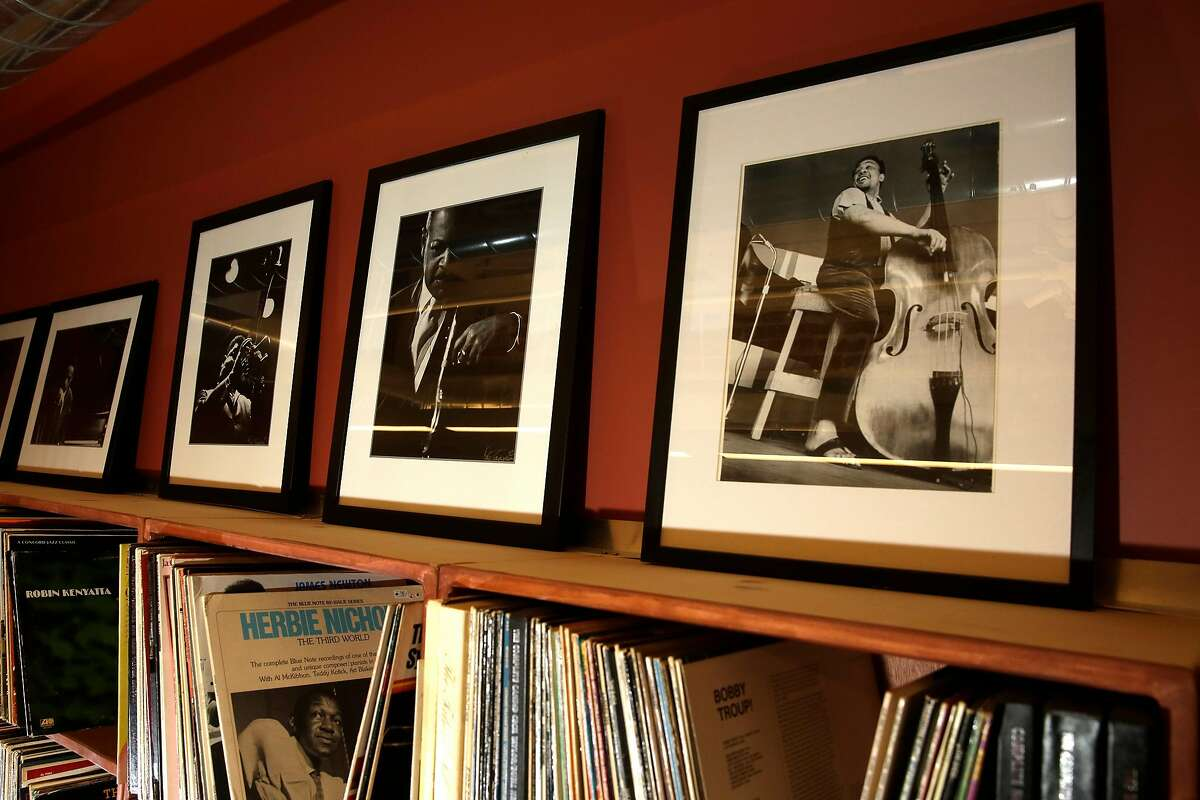 A photograph of jazz great Charlie Mingus, (right) inside the Jennifer A. Maxwell Music Library in Berkeley, Calif., as seen on�Thursday Feb. 15, 2018.�Inside the new location of the California Jazz Conservatory where they will be moving into from across the street from their present location on February 25th.