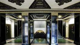 The lobby of the Chemistry Building (now called the Chemistry Complex) features stylized ornamentation and a faintly Egyptian character. The building was designed by S.C.P Vosper and completed in 1929.