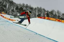 Elizabeth Marian Swaney, of Hungary, jumps during women's halfpipe qualifying at Phoenix Snow Park at the 2018 Winter Olympics in Pyeongchang, South Korea, Monday, Feb. 19, 2018. (AP Photo/Gregory Bull)