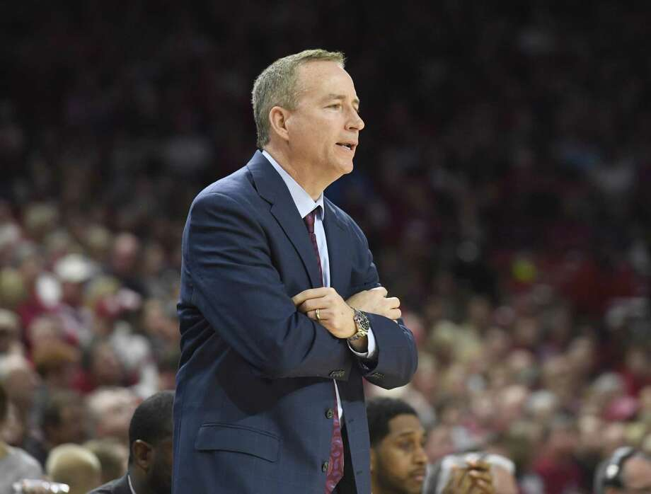 Texas A&M coach Billy Kennedy watches the team play Arkansas during the first half of an NCAA college basketball game Saturday, Feb. 17, 2018, in Fayetteville, Ark. (AP Photo/Michael Woods) Photo: Michael Woods, FRE / Associated Press / Associated Press