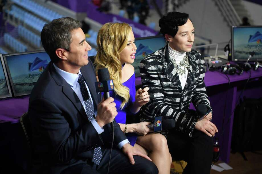 Terry Gannon, Tara Lipinski and Johnny Weir, who lead NBC's figure skating coverage, during the 2018 Winter Olympics in Gangneung, South Korea, Feb. 14, 2018. Scott Hamilton, the face of olympic  figure skating coverage for almost a quarter century, has taken a back seat to the new guard of  analysts, Lipinski and Weir. (James Hill/The New York Times) -- NO SALES -- Photo: JAMES HILL / NYTNS