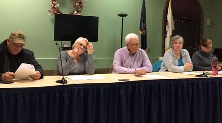 Mechanicville City Council, from left, Anthony Gotti, Barbara McGuire, Mayor Dennis Baker, Kimberly Dunn and Jodie Gilheany voted to hire a labor lawyer to investigate the harassment charges against the mayor filed by the Police Benevolent Association on Feb. 22, 2018. Photo: Wendy Liberatore/Times Union