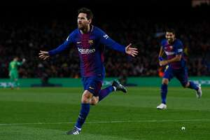BARCELONA, SPAIN - JANUARY 28:  Lionel Messi of FC Barcelona celebrates after scoring his team's second goal during the La Liga match between Barcelona and Deportivo Alaves at Camp Nou on January 28, 2018 in Barcelona, Spain.  (Photo by David Ramos/Getty Images)