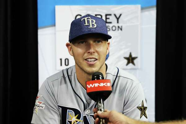 MIAMI, FL - JULY 10:  Corey Dickerson #10 of the Tampa Bay Rays and the American League speaks with the media during Gatorade All-Star Workout Day ahead of the 88th MLB All-Star Game at Marlins Park on July 10, 2017 in Miami, Florida.  (Photo by Rob Carr/Getty Images) ORG XMIT: 700041421