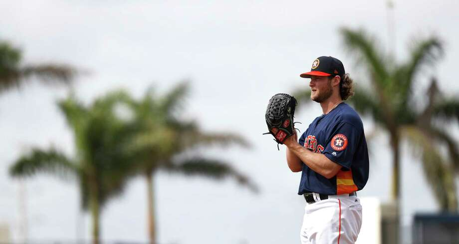 Houston Astros RHP pitcher Gerrit Cole (45) throws live batting practice during spring training at The Ballpark of the Palm Beaches, Tuesday, Feb. 20, 2018, in West Palm Beach.   ( Karen Warren / Houston Chronicle ) Photo: Karen Warren, Staff / © 2018 Houston Chronicle