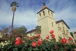 Santa Clara University historic mission church, Mission Santa Clara de Asis, Santa Clara, California (Photo by Visions of America/UIG via Getty Images)