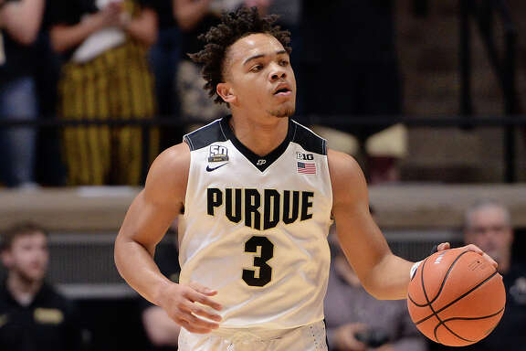 WEST LAFAYETTE, IN - FEBRUARY 18: Purdue Boilermakers guard Carsen Edwards (3) brings the ball up the court during the Big Ten Conference college basketball game between the Penn State Nittany Lions and the Purdue Boilermakers on February 18, 2018, at Mackey Arena in West Lafayette, Indiana. (Photo by Michael Allio/Icon Sportswire via Getty Images)