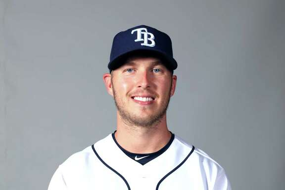 PORT CHARLOTTE, FL - FEBRUARY 18:  Cory Dickenson #10 of the Tampa Bay Rays poses during Photo Day on Saturday, February 18, 2017 at Charlotte Sports Park in Port Charlotte, Florida.  (Photo by Robbie Rogers/MLB Photos via Getty Images) *** Local Caption *** Cory Dickenson