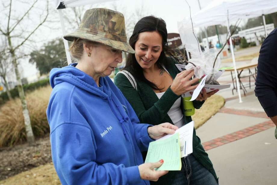 Brenda Park, of the Montgomery County Master Gardeners, left, gives information to Conroe resident Corrin Nice, right, during the 8th annual Arbor Day celebration on Saturday, Feb. 17, 2018, at Founders Plaza in downtown Conroe. Photo: Michael Minasi, Staff Photographer / © 2017 Houston Chronicle