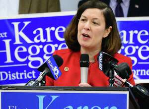 Saratoga County District Attorney Karen Heggen announces her re-election bid Thursday Feb. 22, 2018 in Malta, NY.  (John Carl D'Annibale/Times Union)
