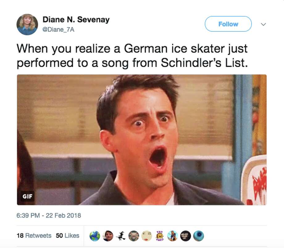 "A number of Twitter users weren't happy that a German figure skater performed her routine to the score of ""Schindler's List."" Photo: Twitter"