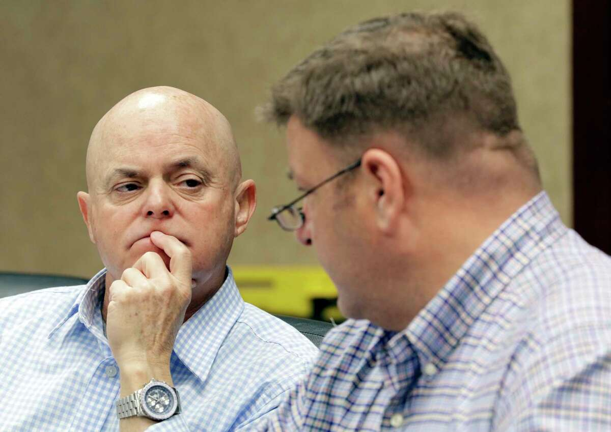 New board members John Arndt and James Green during a meeting of the Fort Bend Flood Management Association at the Fort Bend EDC office in Sugarland, TX, Feb. 9, 2018. (Michael Wyke / For the Chronicle)