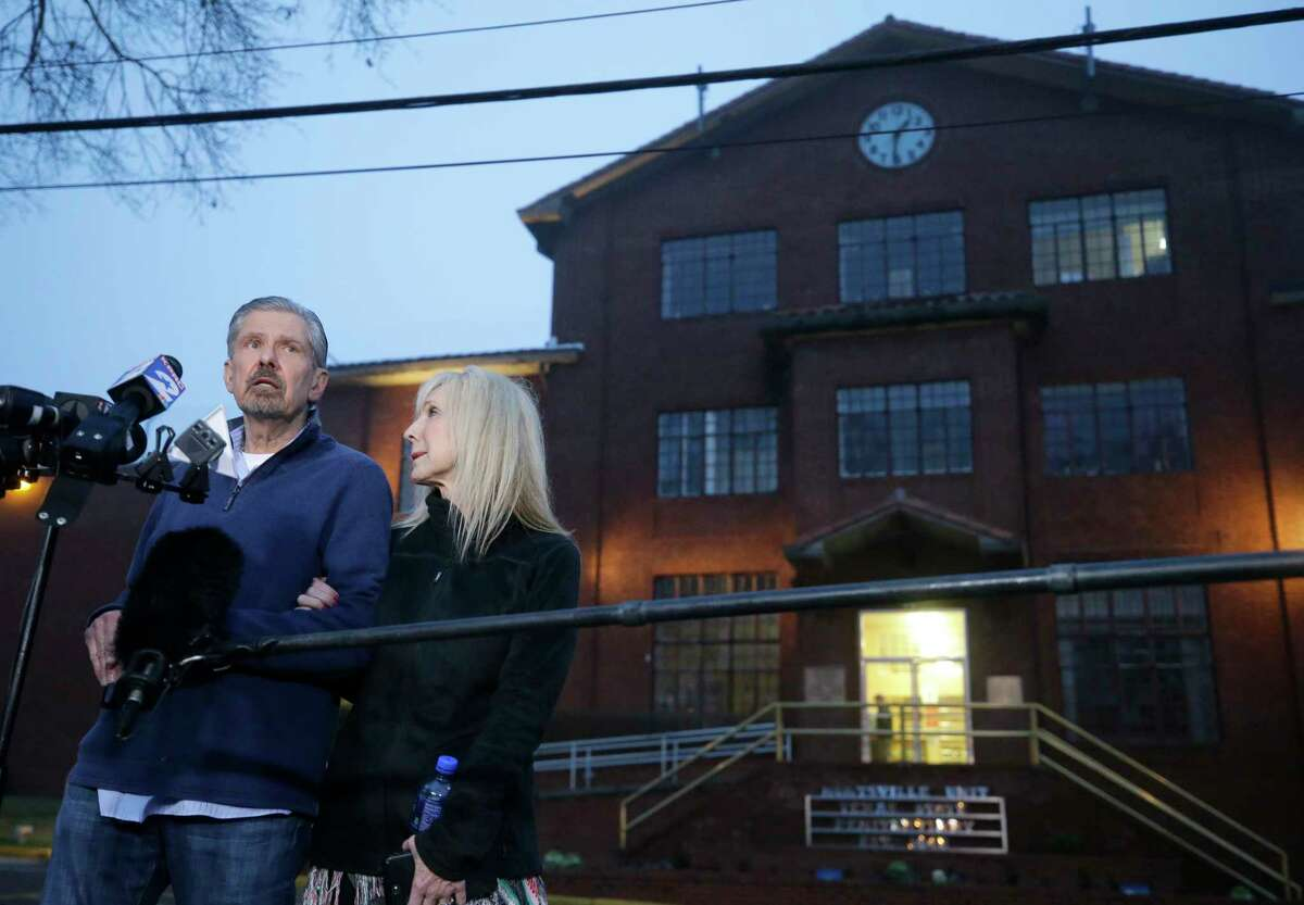 Kent Whitaker with his wife, Tanya, speaks to the media outside the Huntsville Unit Thursday, Feb. 22, 2018 in Huntsville. His son, Bart Whitaker, was granted clemency by the governor of Texas on Thursday. Bart was scheduled for execution on Thursday in the murders of his mother, Patricia Whitaker, and his 19-year-old brother, Kevin Whitaker, on December 10, 2003, in Sugar Land.