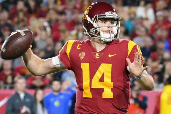 LOS ANGELES, CA - NOVEMBER 18: USC (14) Sam Darnold (QB) throws a pass during a college football game between the UCLA Bruins and the USC Trojans on November 18, 2017, at Los Angeles Memorial Coliseum in Los Angeles, CA. (Photo by Brian Rothmuller/Icon Sportswire via Getty Images)
