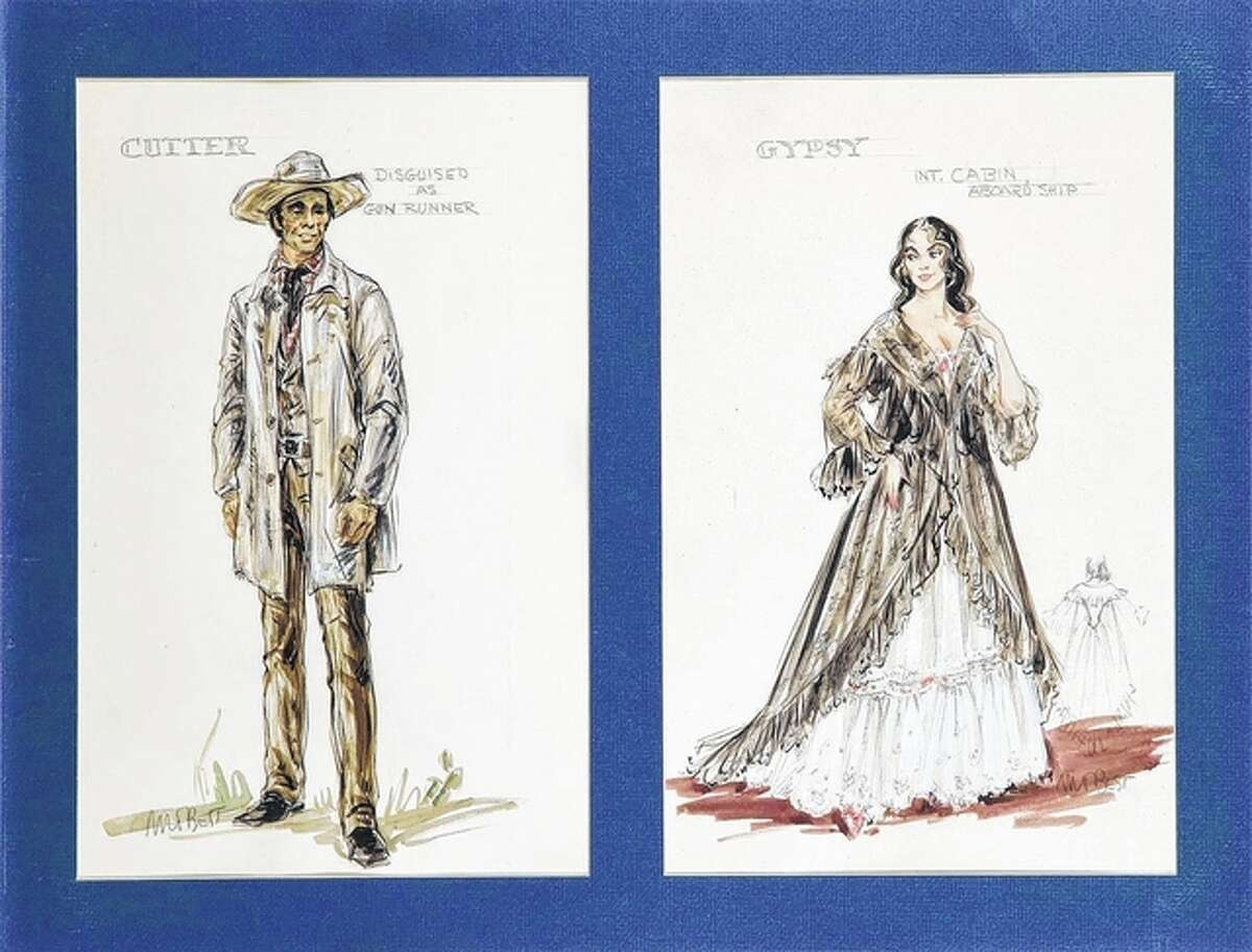 """FILE - These sketches by Marjorie Best were for costumes worn by John Wayne and Ina Balin in """"The Comancheros."""" The set sold for $1,800 at an online auction in 2010."""