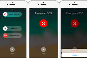 Holding down the power and both volume buttons triggers the Emergency SOS feature on an iPhone 8, 8 Plus and X. Continue to hold the buttons down, and a 911 call goes through automatically.