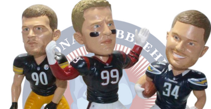 Now, Texans defensive end J.J. Watt, Pittsburgh Steelers linebacker T.J. Watt and San Diego Chargers fullback Derek Watt have the distinction of being featured in a limited-edition bobblehead together in their NFL uniforms. There are 1,000 available through the National Bobblehead Hall of Fame and Museum for $75 apiece.