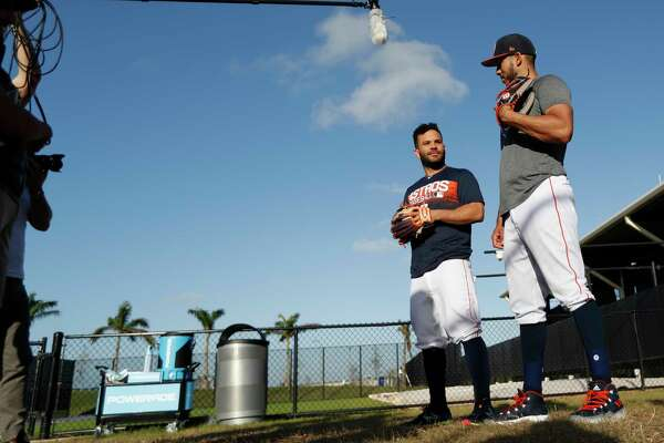 Houston Astros Carlos Correa and Jose Altuve are interviewed by Wilson at spring training at The Fitteam Ballpark of the Palm Beaches, Friday, Feb. 23, 2018, in West Palm Beach.